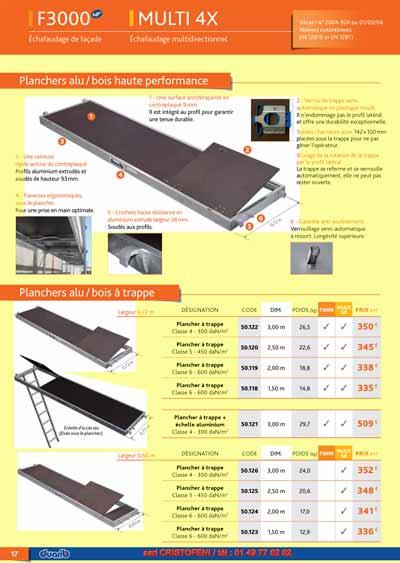 Page d 39 accueil du catalogue duarib tableau prix pour tous for Plancher technique prix m2