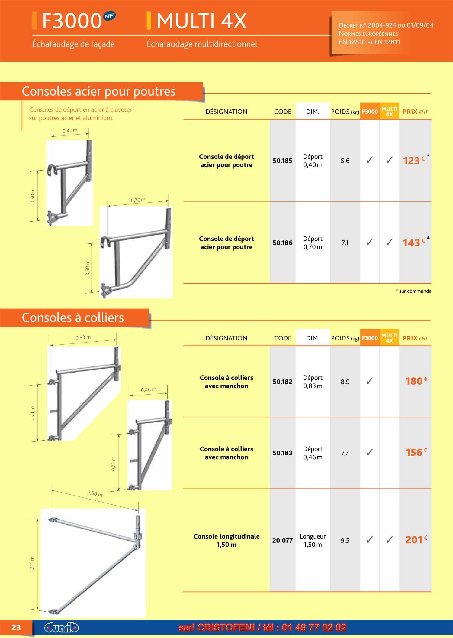 page 23 console acier pour poutre et console a colliers pour tous chafaudages fixes acier duarib. Black Bedroom Furniture Sets. Home Design Ideas