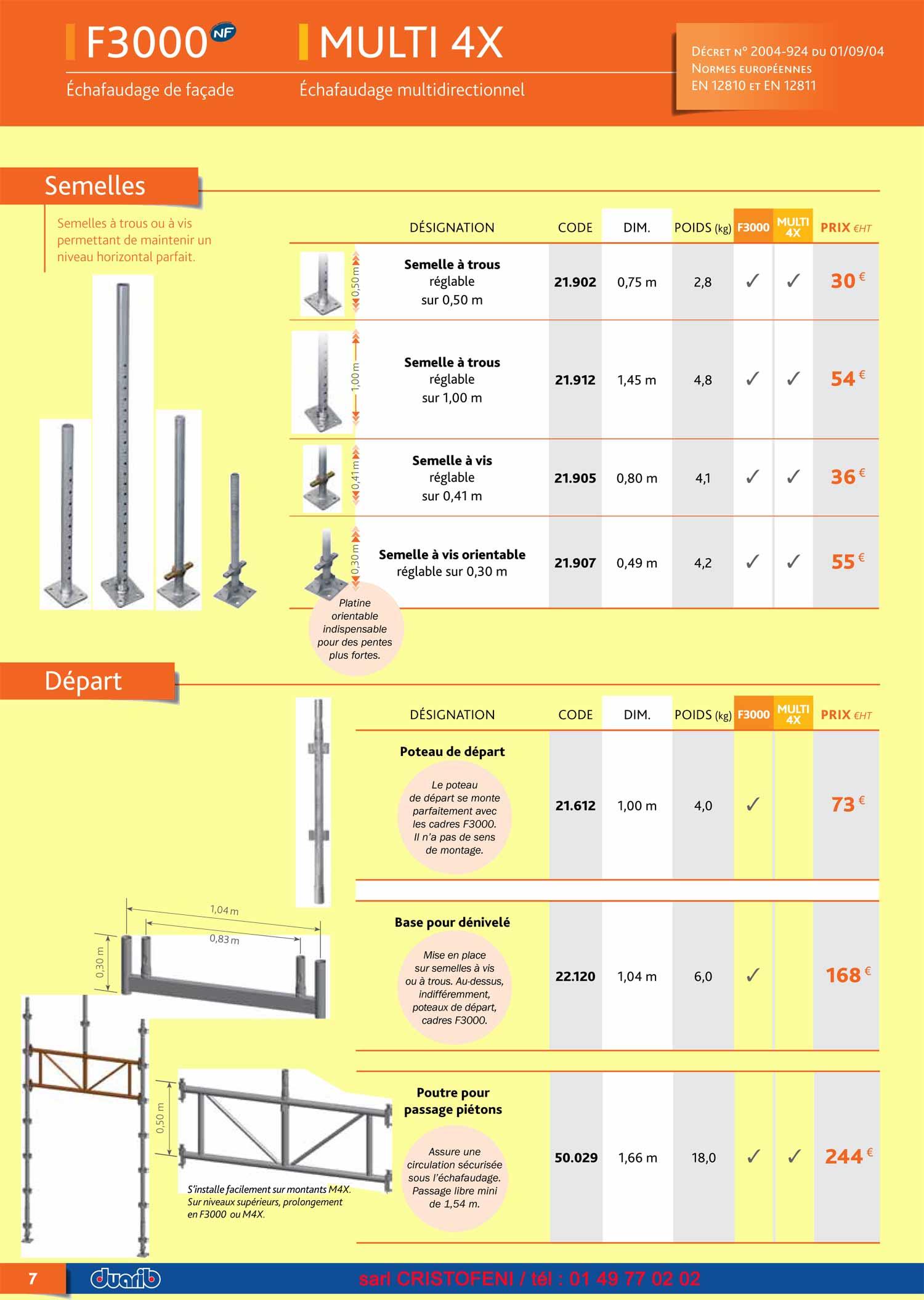page 7 semelles depart poteau poutre compatible f 3000 du catalogue duarib tableau prix pour. Black Bedroom Furniture Sets. Home Design Ideas
